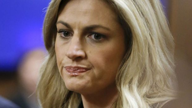 Sportscaster and television host Erin Andrews waits for the jury to enter the courtroom in Nashville, Tennessee.