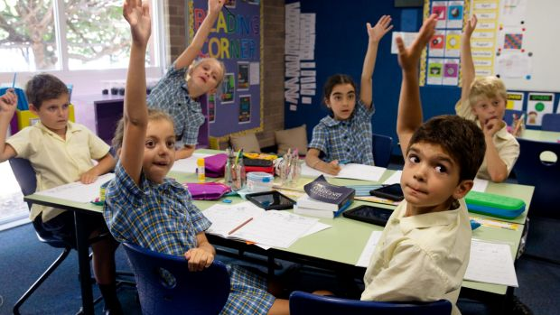 Year 3/4 students Maximo Upegui, 8 (right) and Nikita Powell, 9 from St Mary-St Joseph Catholic Primary School in Maroubra.