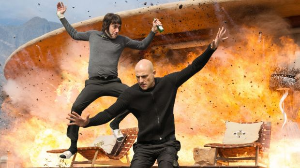 Mark Strong (right) as Agent Sebastian Butcher and Sacha Baron Cohen as Carl 'Nobby' Butcher in <i>Grimsby</i>.
