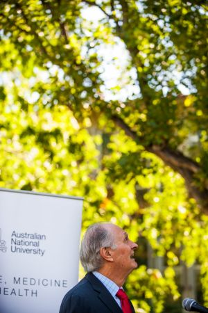 Professor Alan Alda, competes with a cockatoo during his speech at the official opening of the Alan Alda Centre at The ...