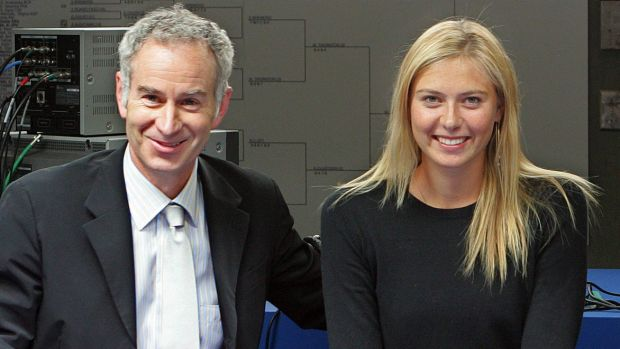 Sceptical: Former great John McEnroe with Maria Sharapova