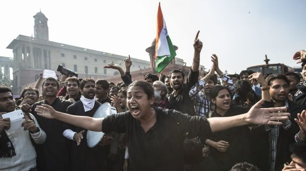 Indians protest the country's rape laws and the government response in New Delhi in 2012.