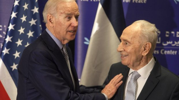 Former Israeli president Shimon Peres, right, and US Vice-President Joe Biden during their meeting at the Peres Centre ...