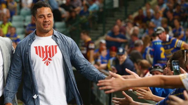 Hayne greets fans at Pirtek Stadium before the round one match in March between the Eels and Broncos.