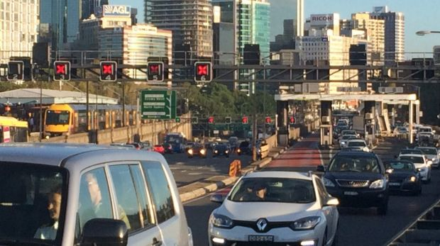 South bound traffic on the Harbour Bridge after an accident between a car and motorbike.