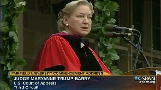 Judge Maryanne Trump Barry delivering the 2011 Fairfield University commencement address.