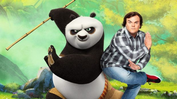 Jack Black with his animated alter-ego from Kung Fu Panda 3.