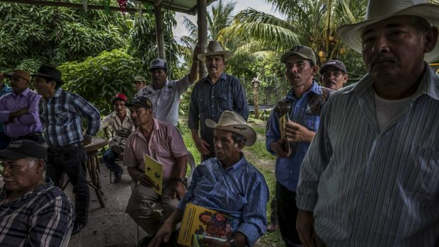 Community leaders from across Nicaragua who are in opposition to government plans, in Santo Tomas last year.