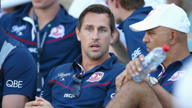 Onlooker: Suspended Roosters player Mitchell Pearce watches from the  stand during the round one NRL match against the ...