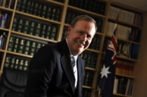 Peter Costello in his electorate office yesterday after announcing his resignation.