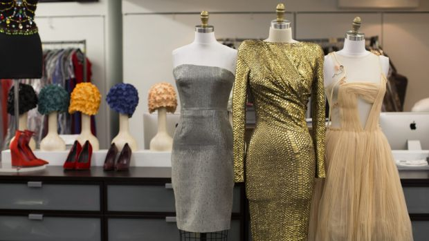From left: a Victoria Beckham dress worn by Robin Wright in <i>House of Cards</i>, styled by costume designer Tom ...