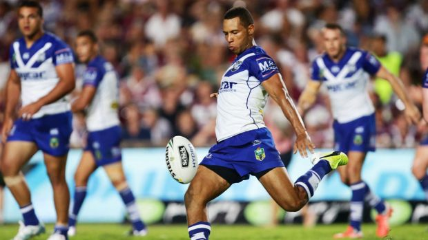 Mbye curious about new role: Bulldogs halfback Moses Mbye kicks during the round one win over the Manly Sea Eagles.