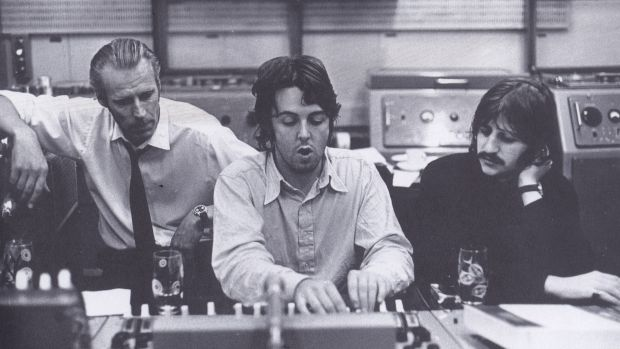 In the control room: Producer George Martin, Paul McCartney and Ringo Starr.