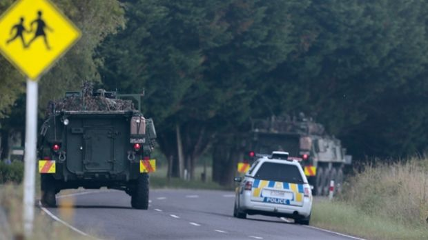 The NZ Army lending support to police at the scene.