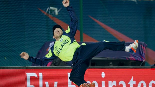 No luck of Irish: Ireland's Gary Wilson jumps in the air to stop a six.