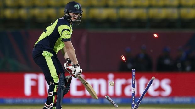 Wicket: Ireland's Kevin O'Brien was bowled out by Oman's Munis Ansari.
