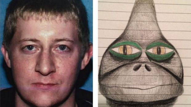 Left, a photo of Kyle Odom, right, a drawing of an alien included in Odom's manifesto