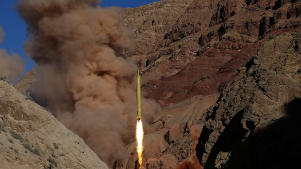 A Qadr-H long-range ballistic surface-to-surface missile is fired by Iran's Revolutionary Guard on Wednesday.
