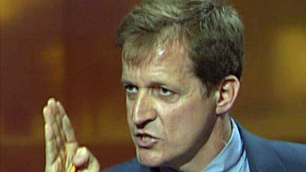 Alistair Campbell being interviewed on Britain's Channel 4 News over a dispute between the BBC and then prime minister ...