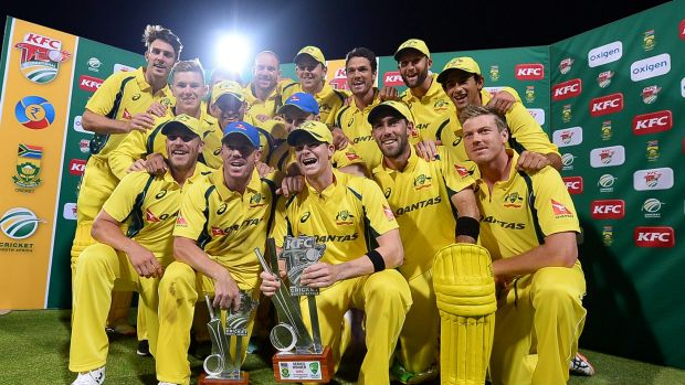 Big boost: Australia celebrate their T20 series win over the Proteas.