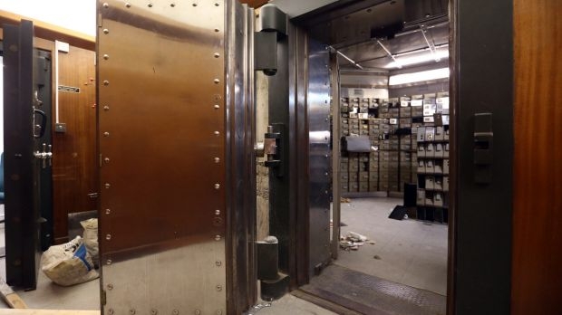 The reinforced steel door to the underground vault of the Hatton Garden Safe Deposit Company.