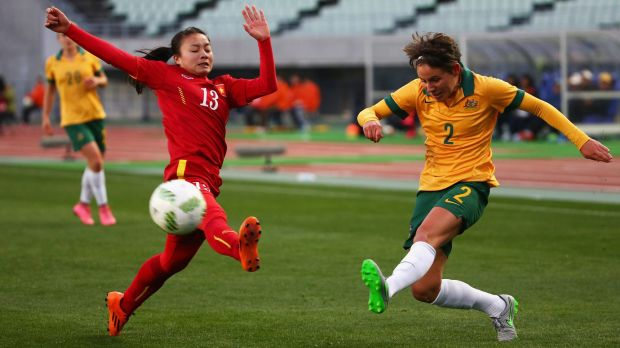 Ashleigh Sykes, in action here against Vietnam, says it is up to Matildas coach Alen Stajcic whether she'll be at the ...