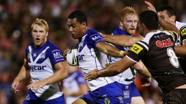 Where there's a Will: Fullback Will Hopoate makes a break at the Bulldogs.