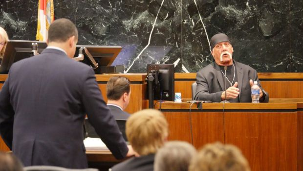 Wrestler Hulk Hogan testifies in his case against the news website Gawker in St Petersburg, Florida, in March.