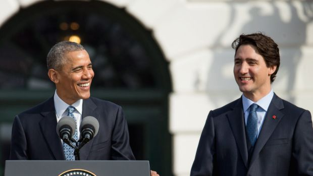 """US President Barack Obama welcomes Canadian Prime Minister Justin Trudeau, """"the first official visit by a Canadian prime ..."""