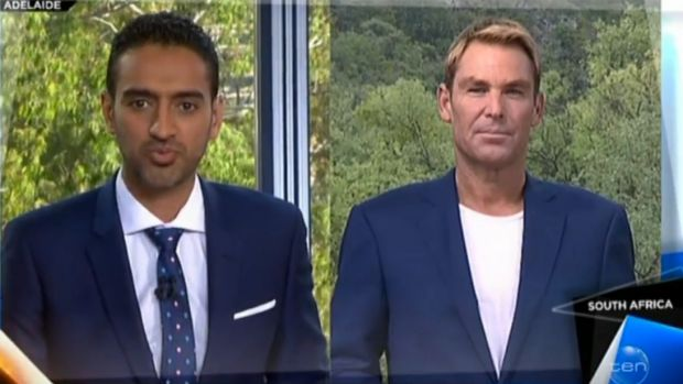 Wrong-footed ... Shane Warne was unimpressed by the line taken by Waleed Aly in his interview.