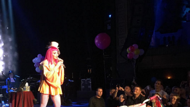 Madonna performing at the Tears for a Clown show.