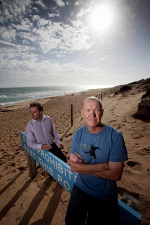 Steve Karakitsos from the South Eastern Centre for Sustainability and Malcolm Brown from Friends Of The Hooded Plover at ...