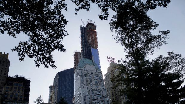 Manhattan's One57 residential tower, known as Billionaires' Row, is seeing the value of its apartments slip.