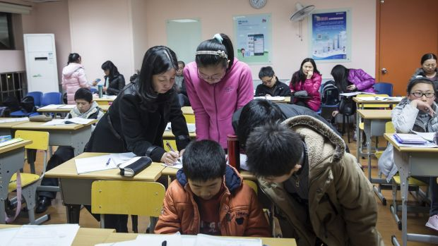 China's economy is shifting towards the consumption of services, like education.