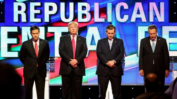 Republican presidential candidates, from left, Marco Rubio, Donald Trump, Ted Cruz, and John Kasich stand for a moment ...