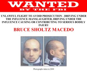 Wanted man: The FBI has been chasing Bruce Sholtz Macedo since 2008 when he fled dual manslaughter charges.