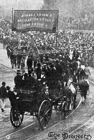 """The """"pioneers"""" of the eight-hour movement marching in the Eight Hours Procession on May 1, 1895."""