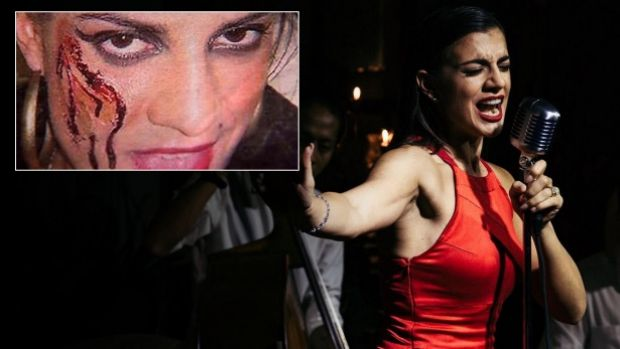 Eva Scolaro is now a jazz singer in Bali. And (inset) the photo of Eva Scolaro dressed up as a glassing victim which ...