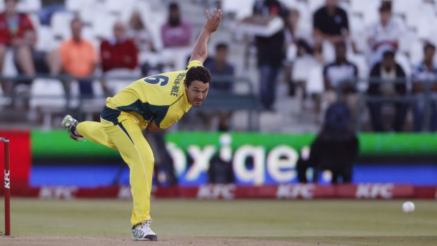 Pitched up: Nathan Coulter-Nile bowls during the recent T20 series against South Africa.