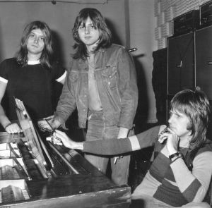 Emerson, Lake and Palmer in the studio for the recording of their album <i>Trilogy</i> in 1971.