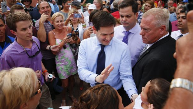 Senator Marco Rubio greets supporters in Naples, in his home state of Florida, on Friday.