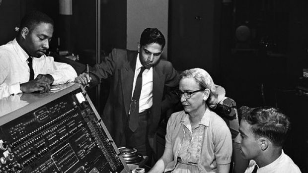 Computer scientist Grace Hopper at the UNIVAC, an early computer.