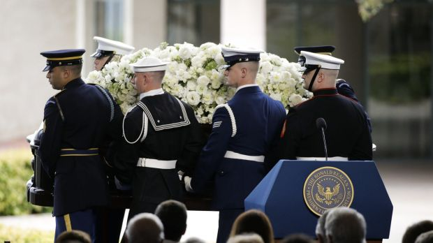The casket carrying former first lady Nancy Reagan at her funeral service on Friday.