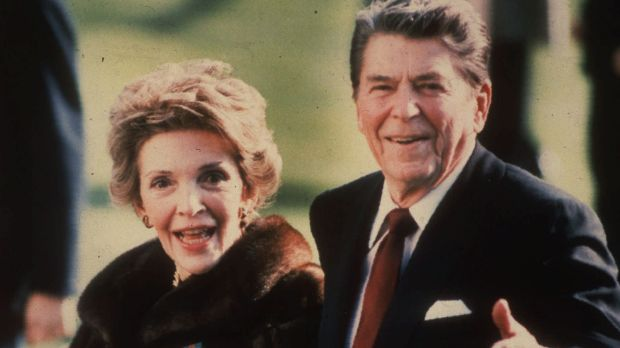 Nancy Reagan and Ronald Reagan at the White House in 1986.