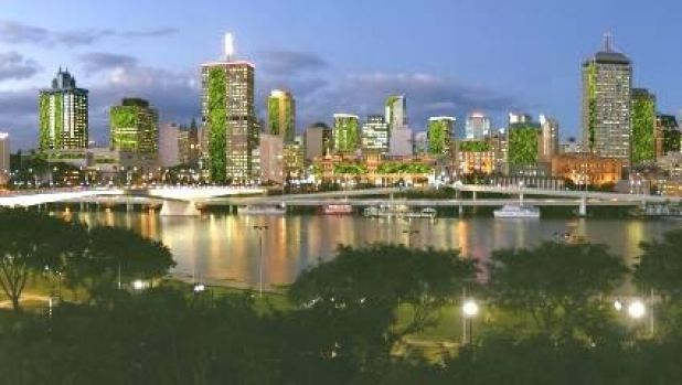 Futuristic outlook: Brisbane Skyline with living walls.