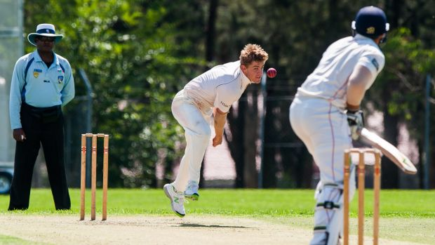 Weston Creek Molonglo bowler Sam Taylor claimed 2-23 as Eastlake were bowled out for 128 on the opening day of their ...