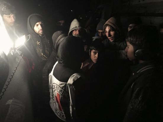 Rural Damascus, Syria, January 2016. People living in the besieged town of Madaya gather to speak with Marianne Gasser, ...