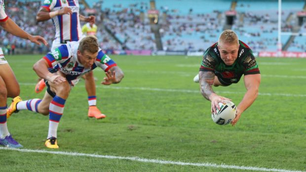 Super Rabbitoh: Aaron Gray plunges over in the corner during the round two NRL match between the South Sydney Rabbitohs ...
