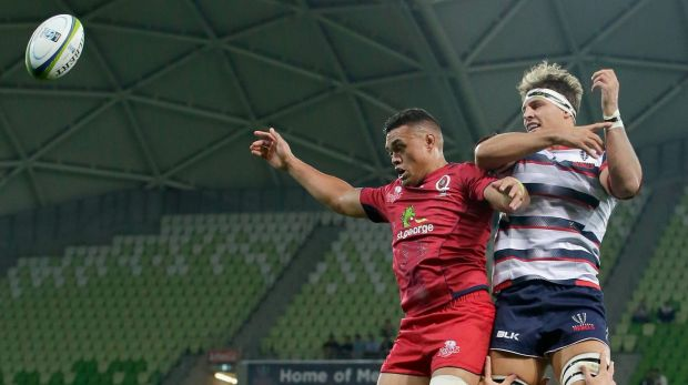 High ball: Reds forward Hendrik Tui and Melbourne's Luke Jones compete in a line-out.