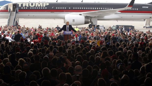 US Republican presidential front runner Donald Trump addresses a rally in Ohio.